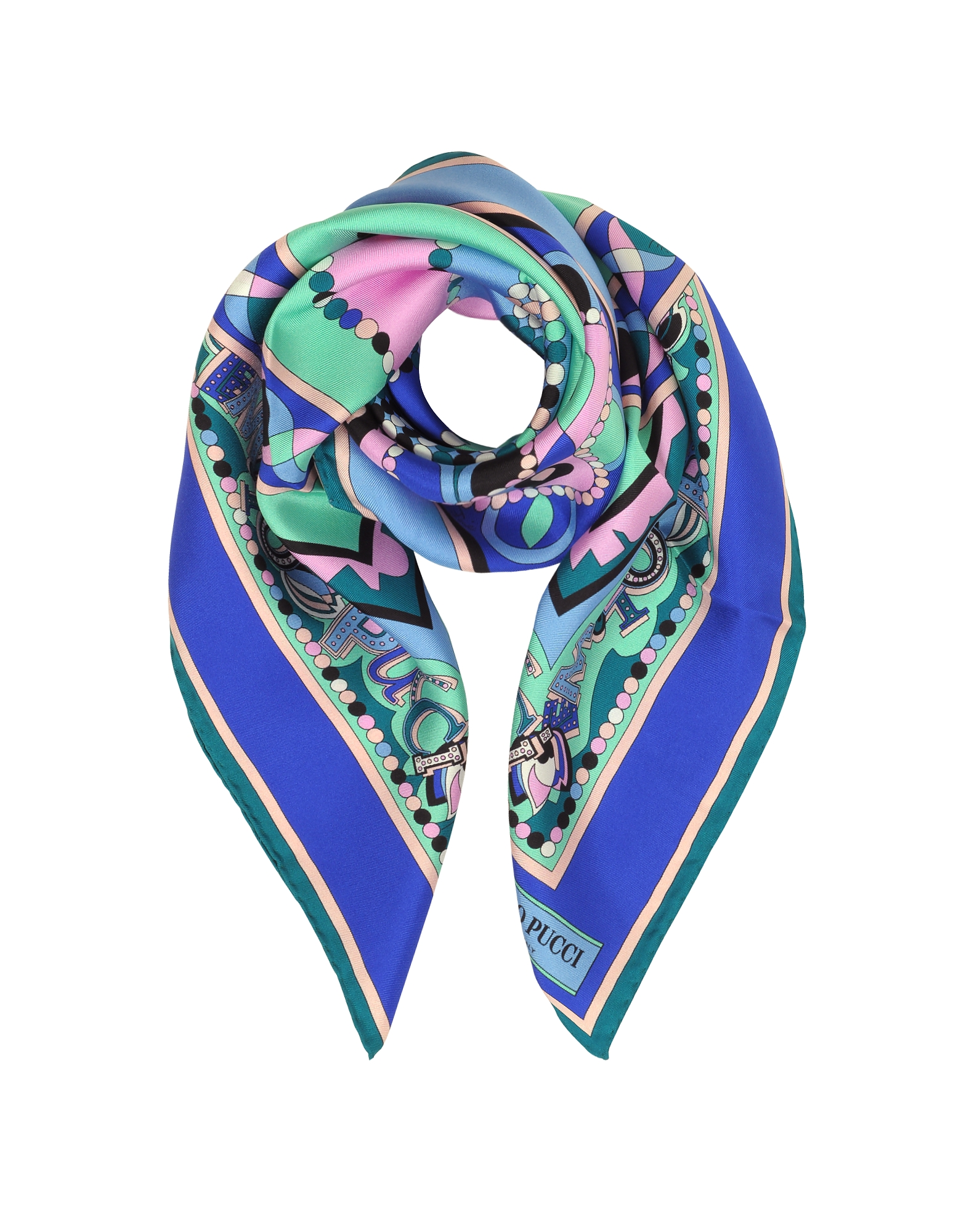Cobalt Blue/Peony Pink Geometric and Signature Printed Silk Square Scarf