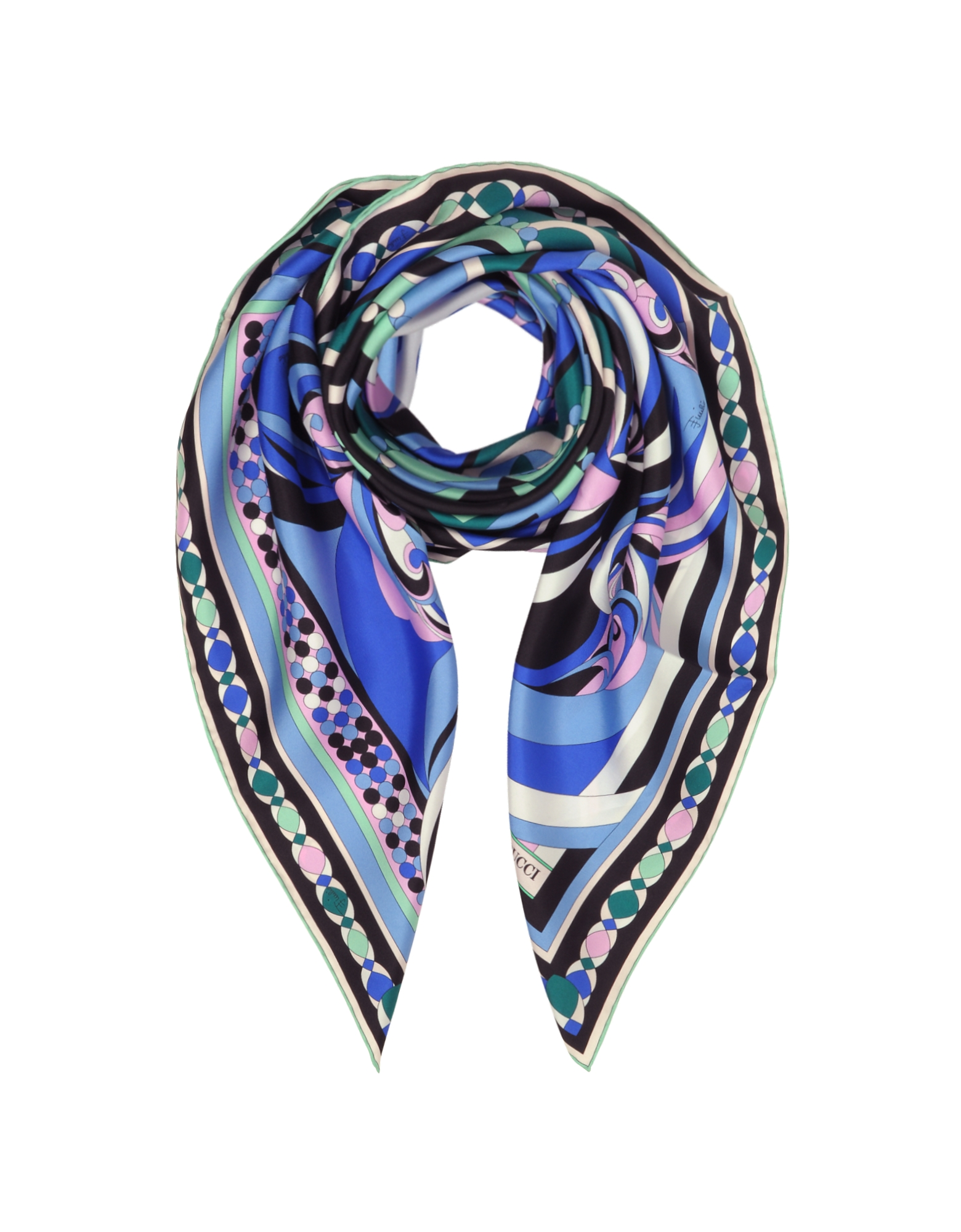 Cobalt Blue Geometric Pattern Print Twill Silk Square Scarf