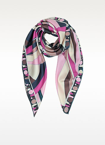 Geometric Print Twil Silk Square Scarf - Emilio Pucci
