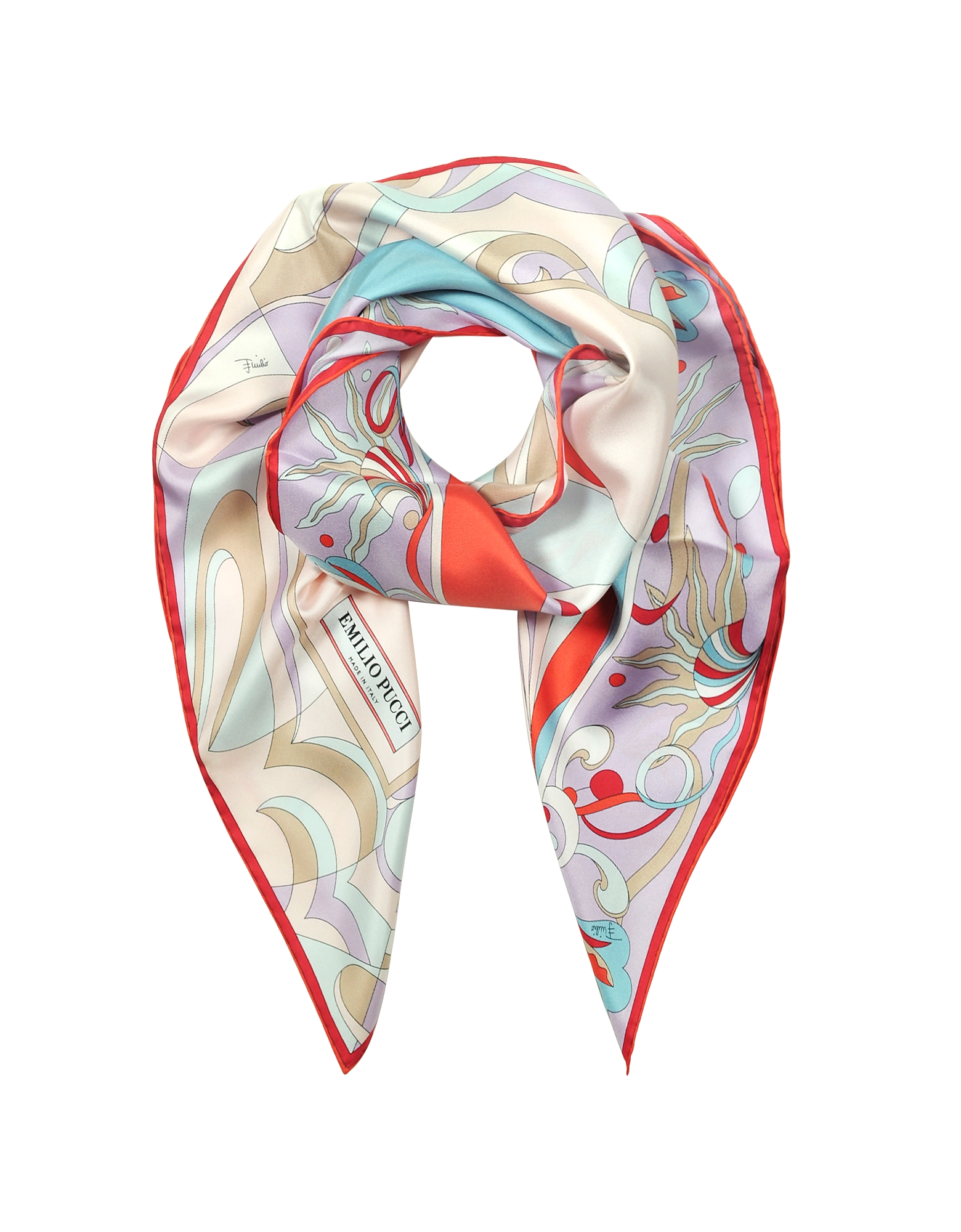 Burle Coral and Light Blue Pure Silk Square Scarf