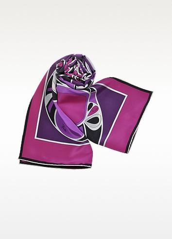 Flakes - Purple Printed Silk Long Scarf - Emilio Pucci