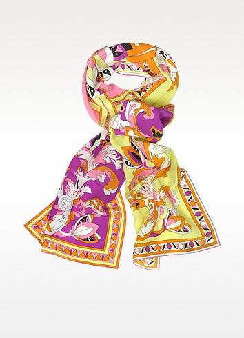 Delft Floral Silk Long Scarf - Emilio Pucci