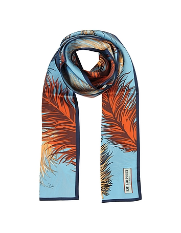 Feathers Print Silk Long Scarf