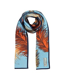 Feathers Print Silk Long Scarf  - Emilio Pucci