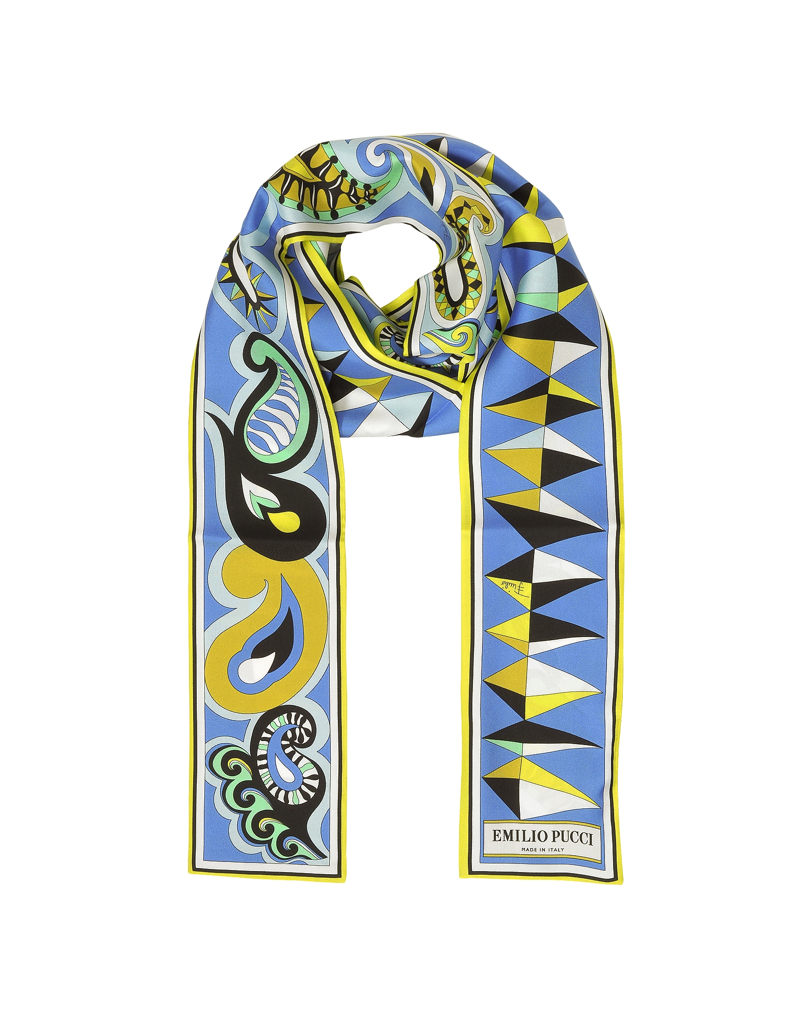 Paisley and Geometric Print Twill Silk Long Scarf