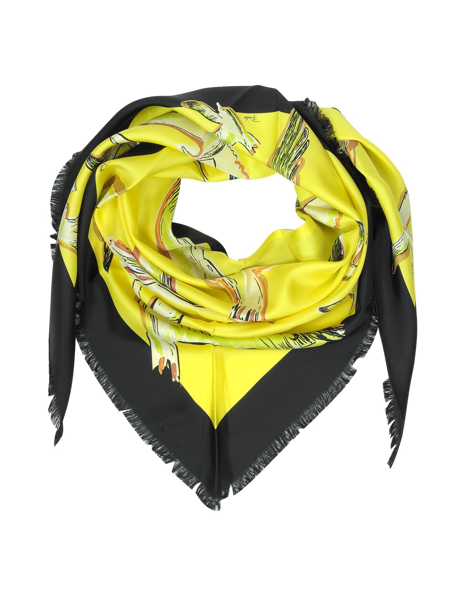 Birds Print Silk Shawl w/Fringes - Emilio Pucci