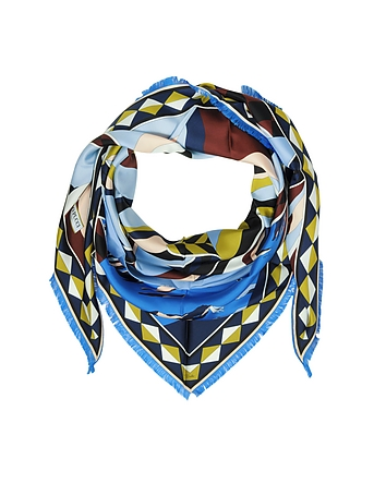 Geometric Print Silk Triangle Shawl w/Franges
