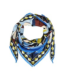 Geometric Print Silk Triangle Shawl w/Franges - Emilio Pucci