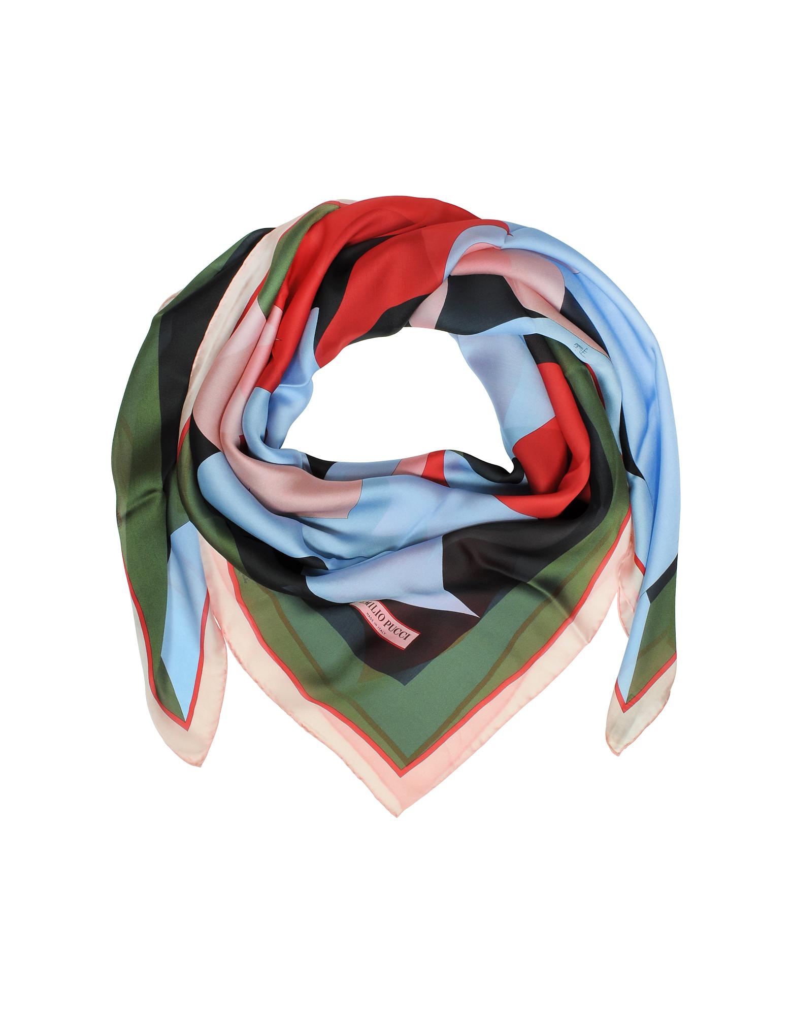Разноцветная Шаль из Шелка с Цветочным Принтом