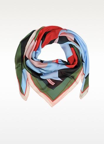 Emilio Pucci Разноцветная Шаль из Шелка с Цветочным Принтом