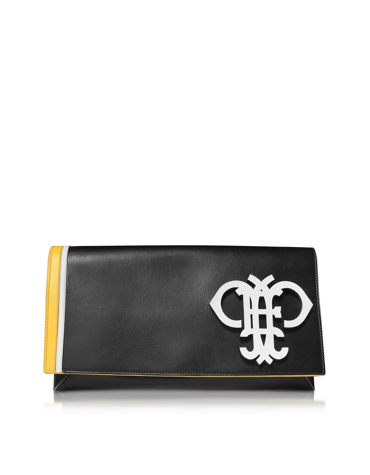 Фото Черный Кожаный Клатч с Клапаном и Логотипом. Купить с доставкой