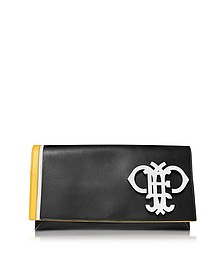 Logo Black Leather Flap Clutch - Emilio Pucci