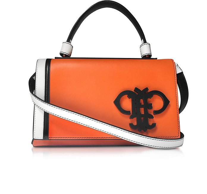 Logo Orange Leather Satchel w/Shoulder Strap - Emilio Pucci