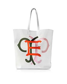 Large Multicolor Logo White Leather Tote Bag - Emilio Pucci