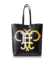 Large Multicolor Logo Black Leather Tote Bag - Emilio Pucci