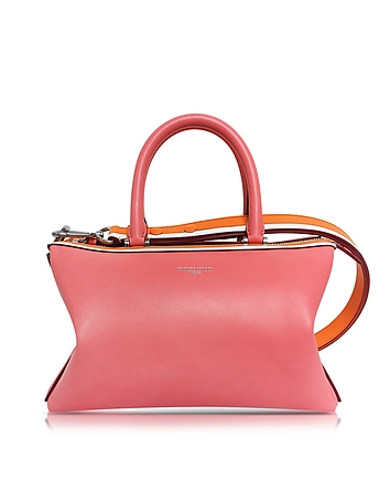Pink Smooth Leather Satchel Bag