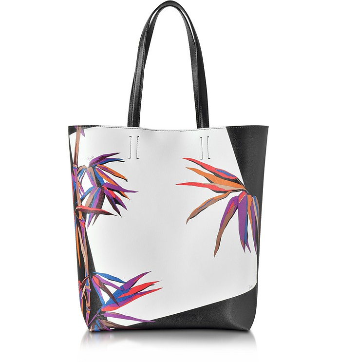 Bamboo Print Black and White Leather Tote - Emilio Pucci