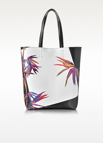Bamboo Print Black and White Leather Tote - Emilio Pucci