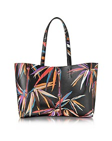 Bamboo Print Black and Orange Leather Tote - Emilio Pucci