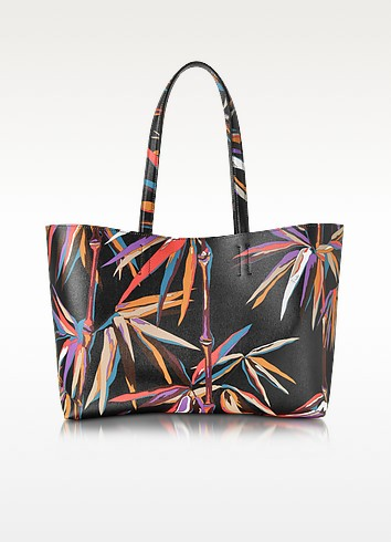 Bamboo Print Black and Orange Leather Tote - Emilio Pucci