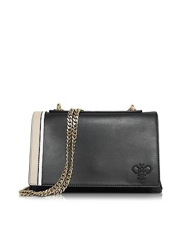 Black Leather Shoulder Bag w/Chain Strap