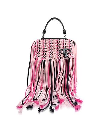 Pink Canvas Long Fringed Satchel Bag