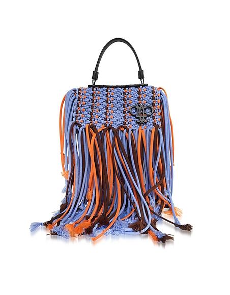 Emilio Pucci Lavender Canvas Long Fringed Satchel Bag