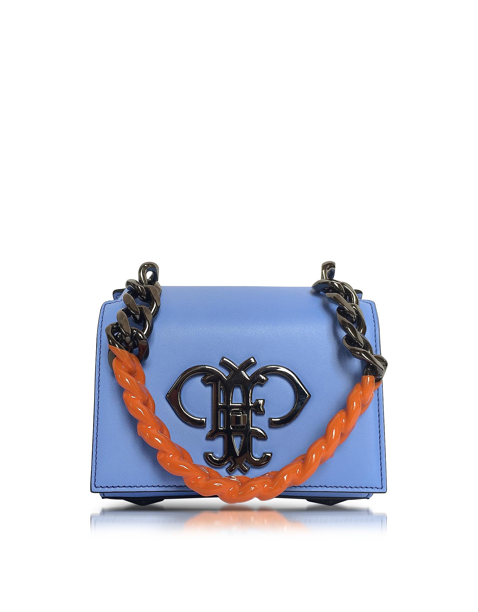 Emilio Pucci Светло-синяя Кожаная Сумка на Плечо с Разноцветной Цепочкой на Плечо