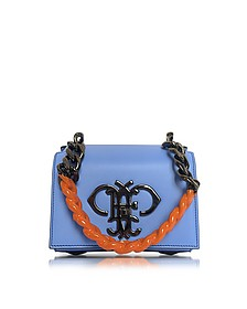 Sky Blue Leather Shoulder Bag w/Color Block Chain Strap - Emilio Pucci