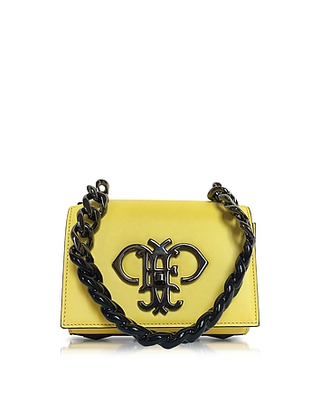 Emilio Pucci - Chartreuse Leather Shoulder Bag w/Color Block Chain Strap