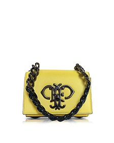 Chartreuse Leather Shoulder Bag w/Color Block Chain Strap - Emilio Pucci