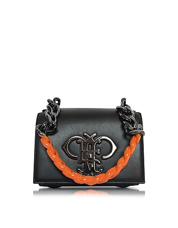 Emilio Pucci - Black Leather Shoulder Bag w/Color Block Chain Strap