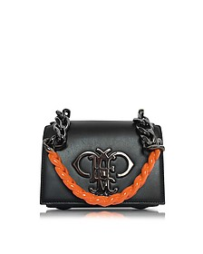 Black Leather Shoulder Bag w/Color Block Chain Strap - Emilio Pucci