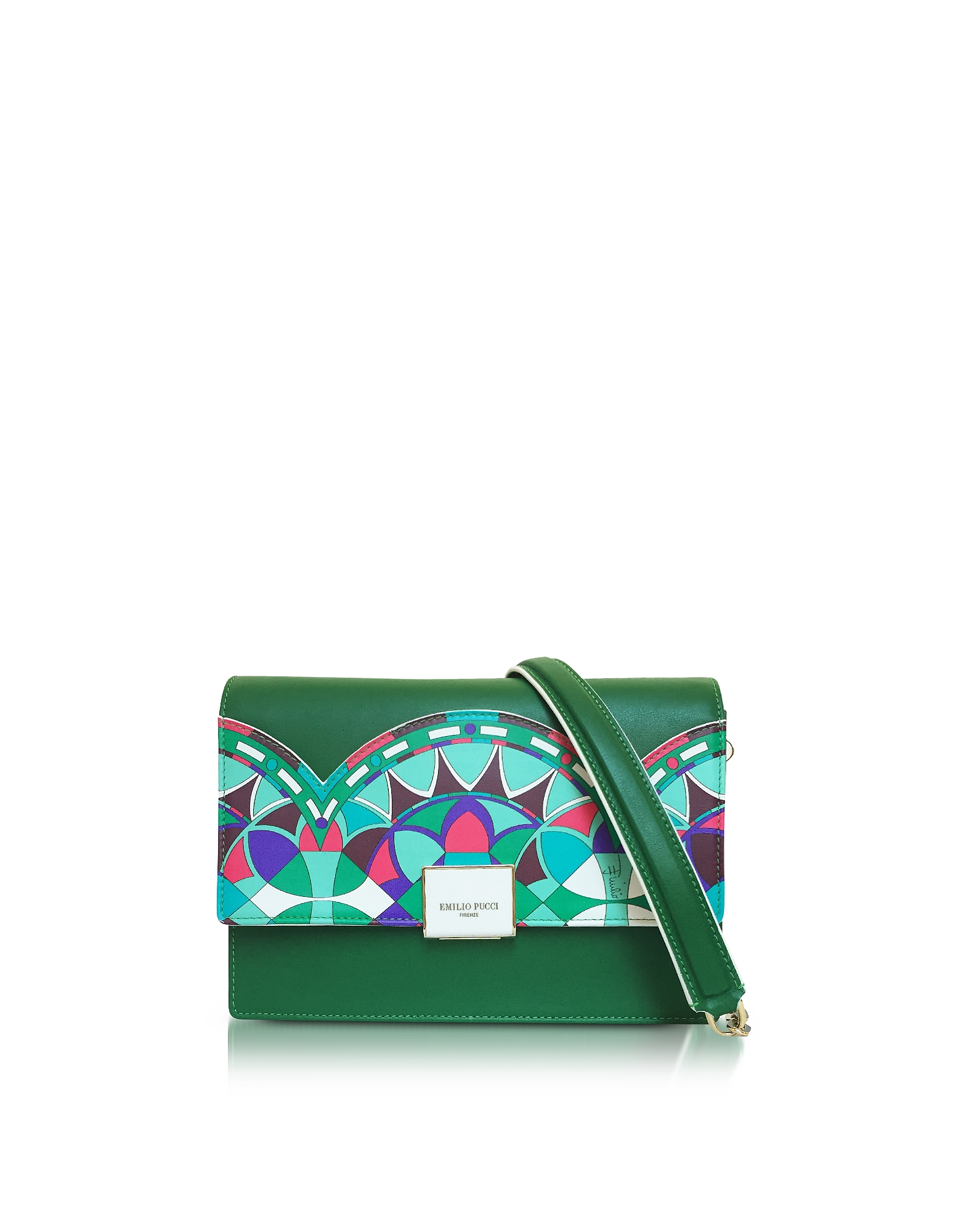 Emilio Pucci Handbags, Emerald Green Optical Printed Leather Shoulder Bag