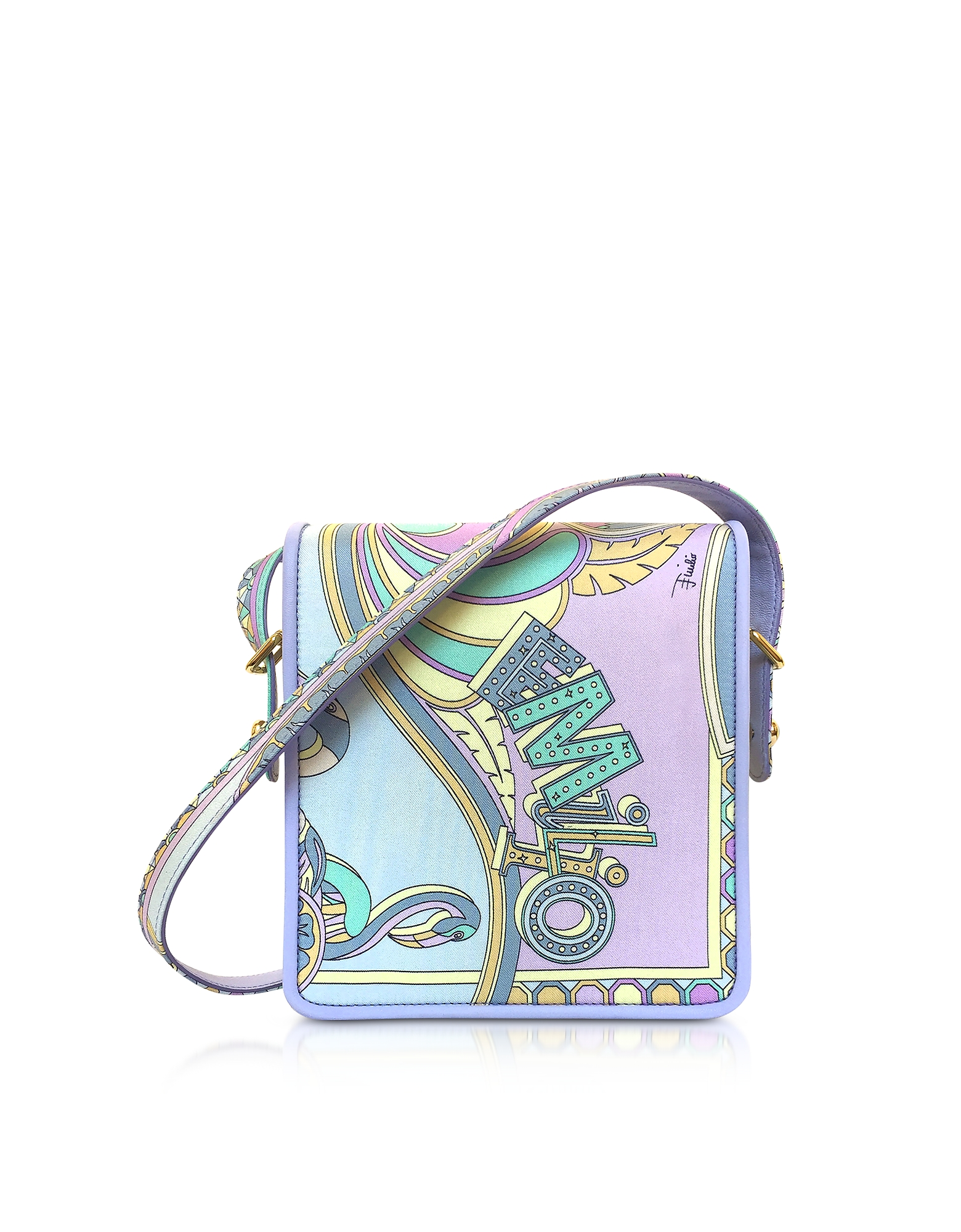 Emilio Pucci Handbags, Wisteria Printed Silk Shoulder Bag