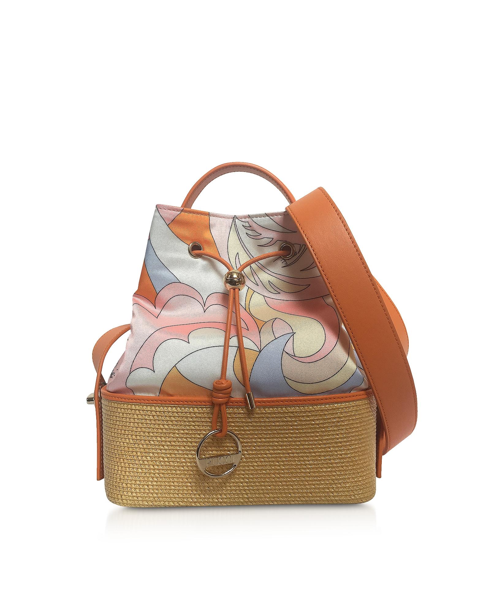 Emilio Pucci Handbags, Viscose and Cotton Bucket Bag