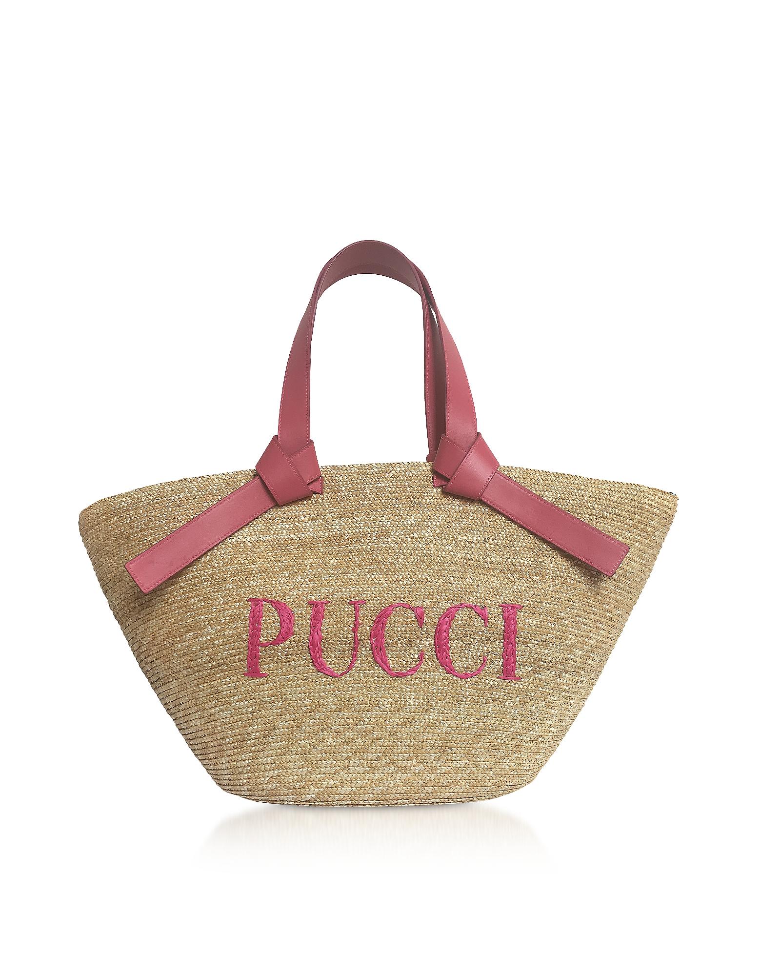 Emilio Pucci Handbags, Raffia Signature Bucket Bag
