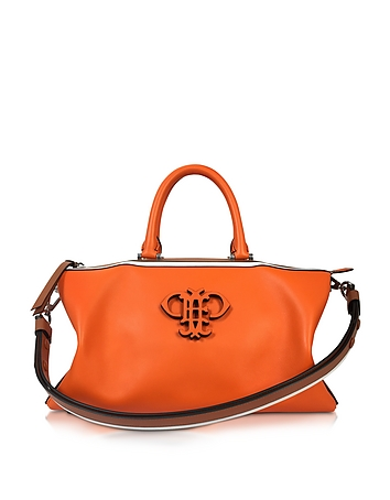 Orange Leather Boston Bag