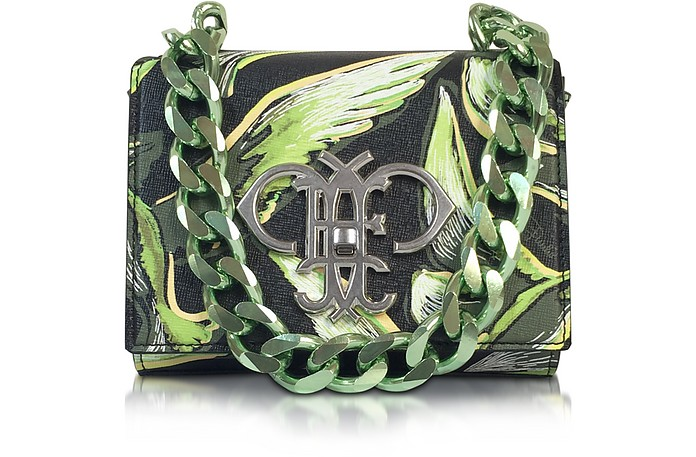 Green Saffiano Leather Bird Print Shoulder Bag - Emilio Pucci