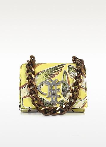 Yellow Saffiano Leather Bird Print Shoulder Bag - Emilio Pucci