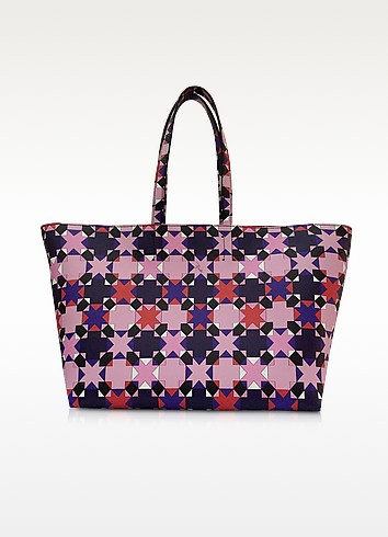 Pink and Multicolor Symbols Print Leather Tote - Emilio Pucci
