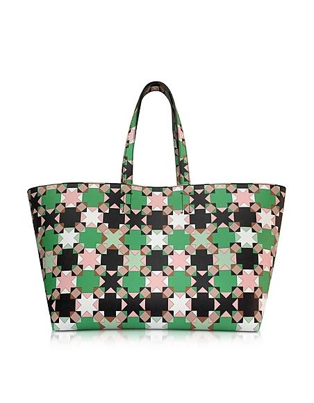 Foto Emilio Pucci Shopper in Pelle Verde/Beige con Stelle Borse donna