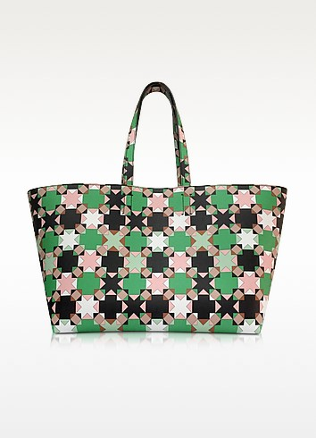 Cabas en Cuir Vert et Multicolore Imprimé Symboles - Emilio Pucci