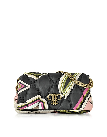 Nude and Multicolor Quilted Fabric Shoulder Bag