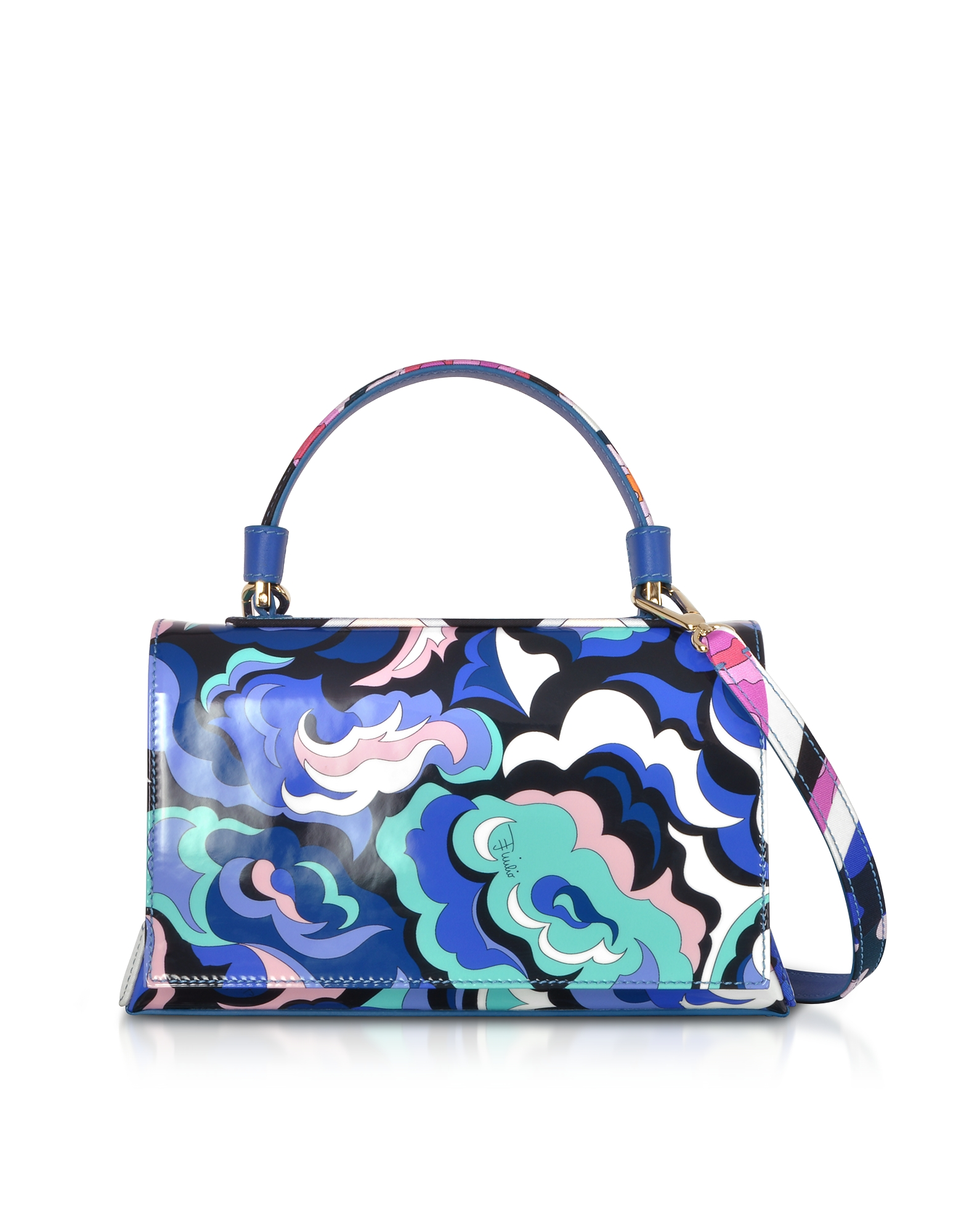 Pilot bag in Seta e Pelle Pop Flower Blu Cobalto