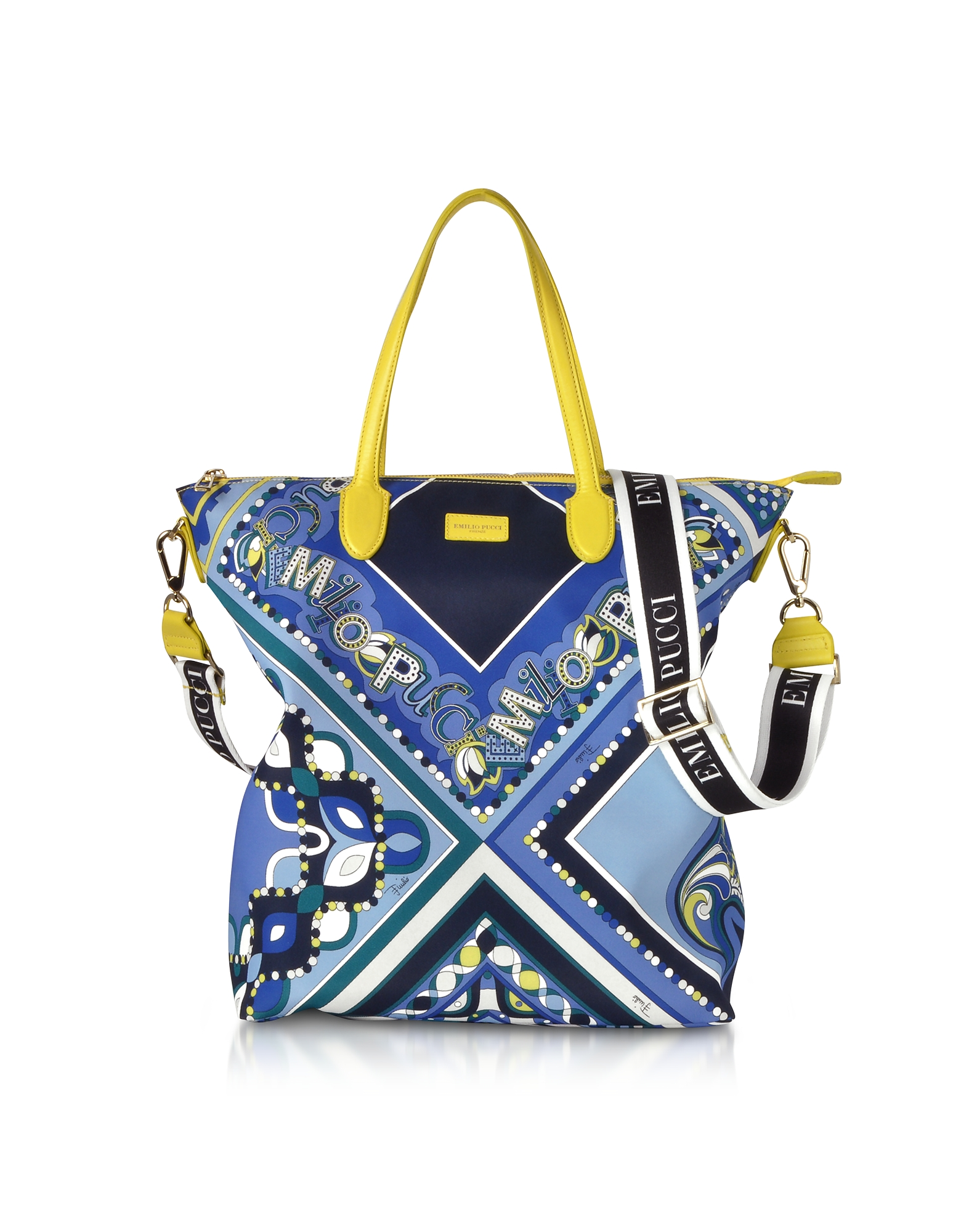 Cobalt and Petrol Blue Printed Canvas N/S Tote Bag