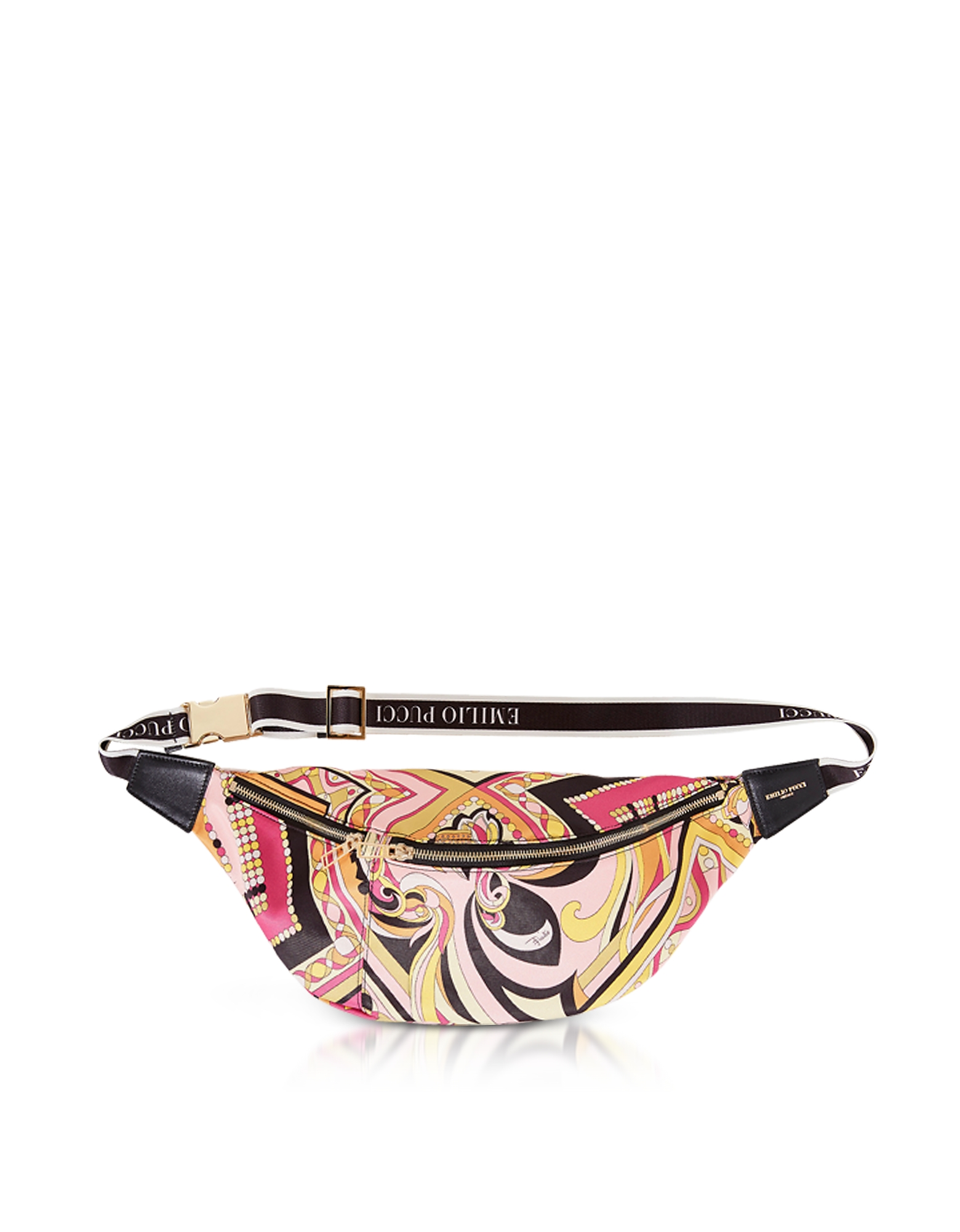 Black and Almond Printed Fabric Belt Bag