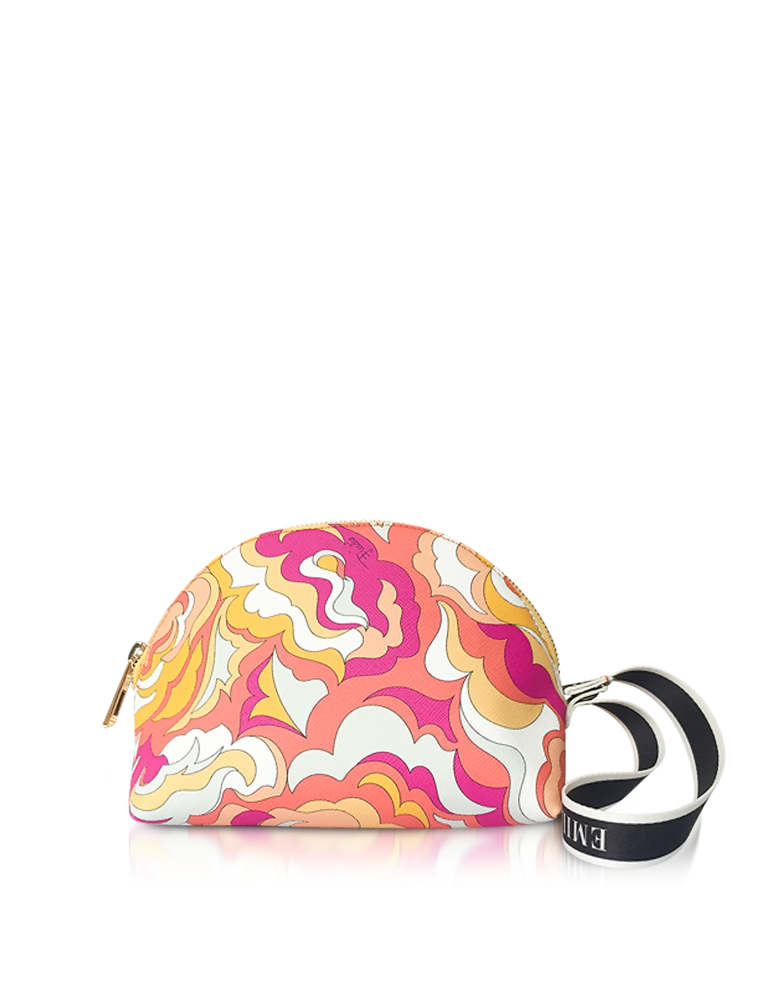 Image of Emilio Pucci Designer Handbags, Coral and Sand Coated Canvas Cosmetic Case/Pouch