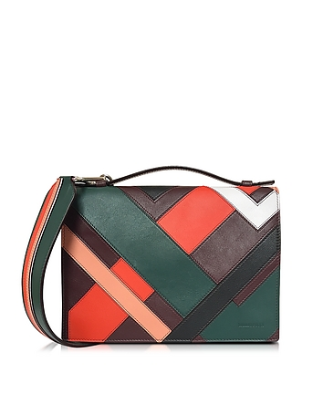 Multicolor Inlay Leather Shoulder Bag