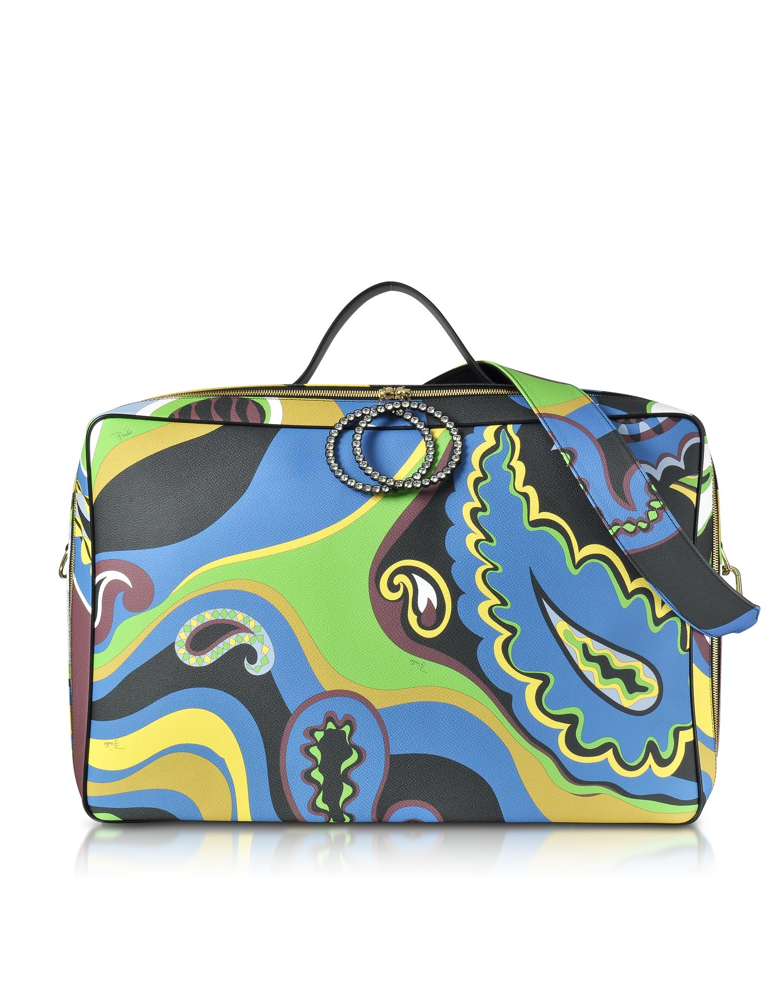 Emilio Pucci Handbags, Pervinca Optical Print Oversized Top-Handle Bag